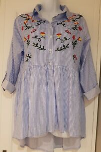 Womens-Blue-White-Stripe-Embroidered-Boho-Smock-Tunic-Blouse-High-Low-Hem-10-vgc