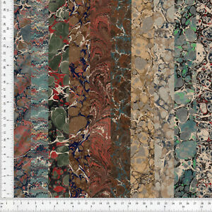 Hand-Marbled-Paper-Set-of-10-13x48cm-5x19in-Bookbinding-Restoration