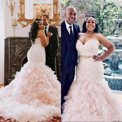 Plus Size Mermaid Wedding Dresses Sash Beaded Lace Bridal Gowns ...