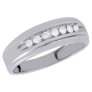 10k White Gold Channel Set Diamond Mens Wedding Band Engagement Ring