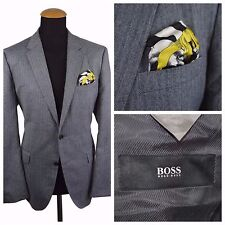 Recent Hugo Boss Mens Blazer Jacket Size 40R Grey Wool Elbow Patches Herringbone