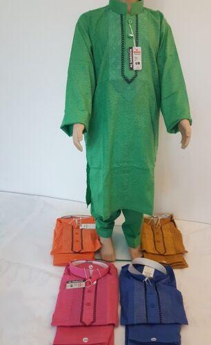 NUOVA RICAMATA Pakistano Bambini Ragazzo né Salwar Kurta Dress 20 22 24