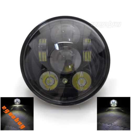 """Motorcycle Black Aluminum 5.75/"""" LED Headlight  For Harley Softail FXST Dyna Hot"""