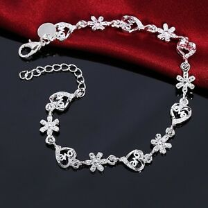 Charm-Rhinestone-Crystal-Silver-Plated-Love-Flower-Heart-Bangle-Bracelet