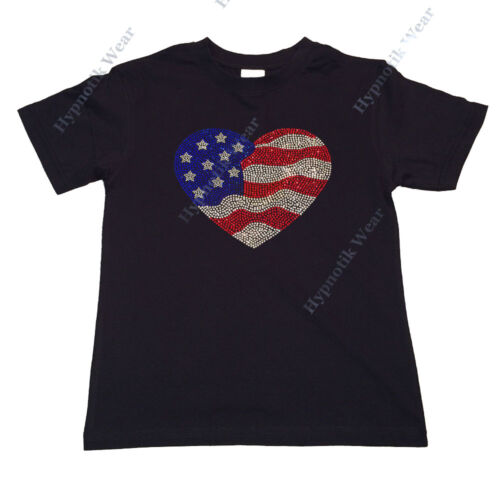 """Girls Rhinestone T-Shirt /""""4th of July Flag Heart /"""" Size 3 to 14 Available"""