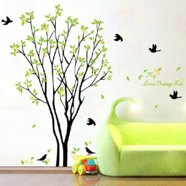 Large Tree Birds Leaves Vinyl Wall Decal Stickers Living Room Bedroom Home Decor