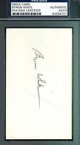 Byron Whizzer White Signed Psa/dna Coa 3x5 Index Card Authentic Autograph