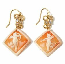 "AMEDEO ""Naughty & Nice"" 35mm Cameo Crystal Rosetone Drop Earrings"