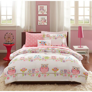 Full 8 Pc Girls Owl Bedding Set Bag Pink Purple Flowers