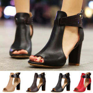 Womens-Fish-Mouth-High-Heel-Lady-Zipper-Sandals-Leather-Short-Boots-Single-Shoes
