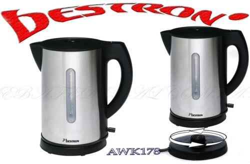 Bestron awk178 Acier Inoxydable Chauffe-eau 1.7 L sans fil 360 ° 2200 W Acier Inoxydable Black