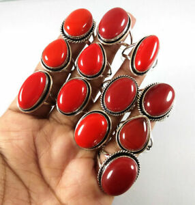10 Pcs Wholesale Lot Red Coral Gemstone 925 Sterling Solid Silver Ring BR-15