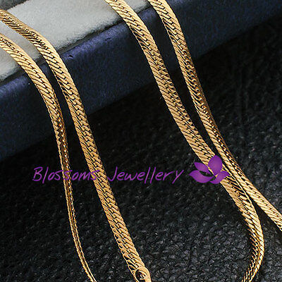 "9K 9CT Yellow GOLD GF 3mm Wide Flat SNAKE CHAIN NECKLACE Womens 24"" ES558 NEW"