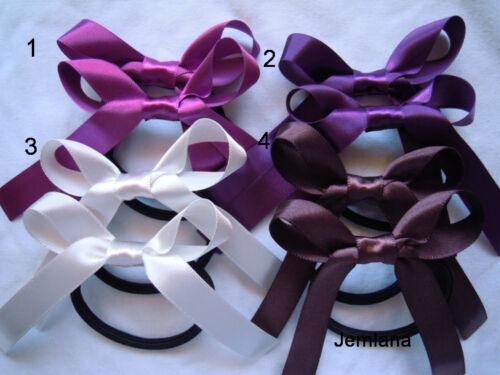 for girls ..Set of 2 hair ties Jemlana/'s handmade  hair ties Satin ribbons