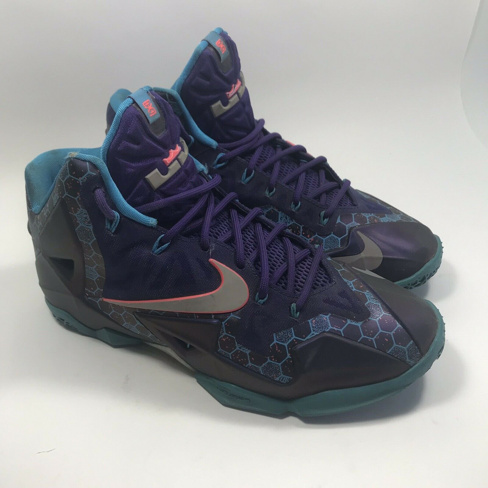 Nike Lebron Xl 11 Summit Lake Hornets Purple bluee Silver 616175 500 Sz 9