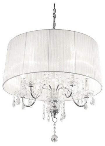 5 Light crystal droplet chandelier with white shade Large crystal ceiling light