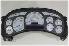 4A) 03-04 2003-2004 CUSTOM WHITE GAUGE GMC CHEVY SILVERADO REPLACEMENT CLUSTER