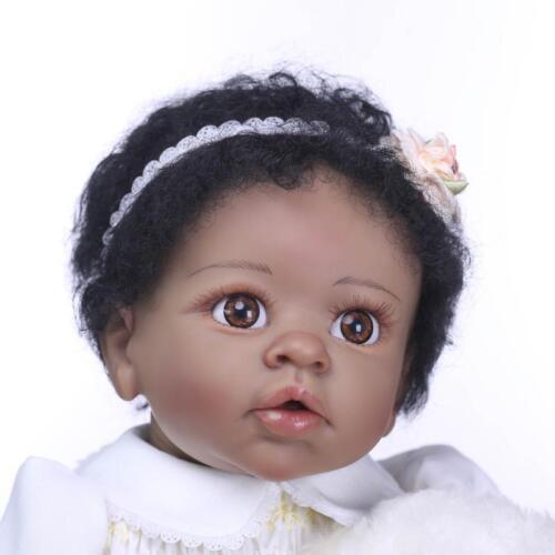 African American Dolls 22 inch Reborn Doll Silicone Vinyl Girl Newborn Gift Cute