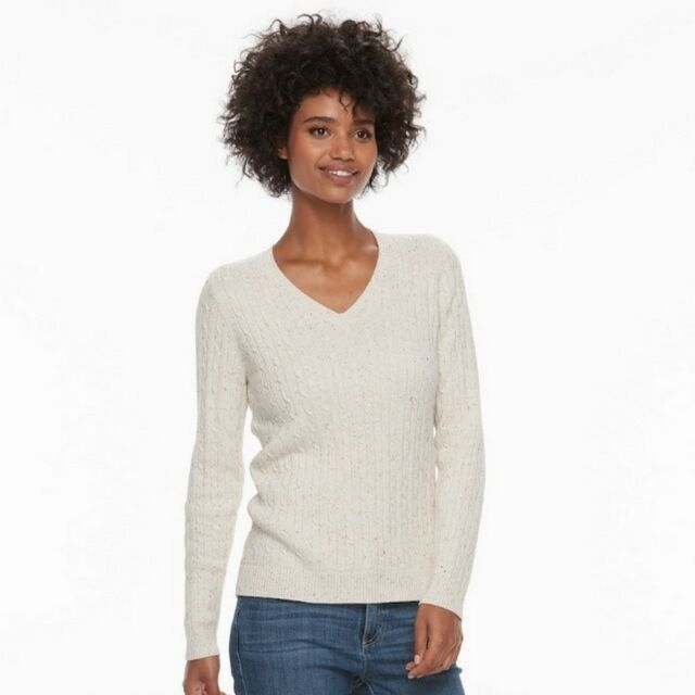 Croft   Barrow Classic Cable-Knit V-Neck Long Sleeve Sweater Beige Women s  XL 140813a85
