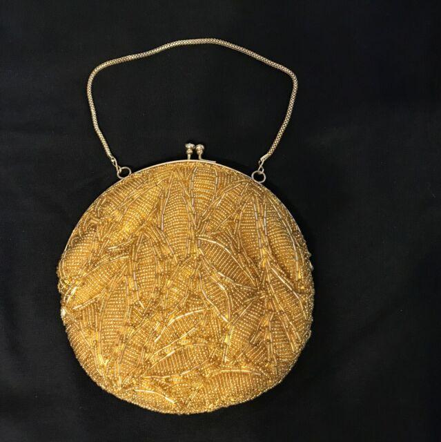 Walborg VINTAGE 1960 Round Gold Beaded Evening Bag, 6.5