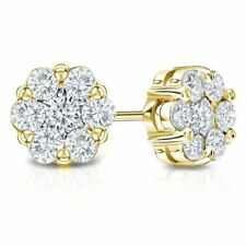 1CT Brilliant Brilliant Cluster Earrings 14K Yellow Gold Round Cut Flower Stud