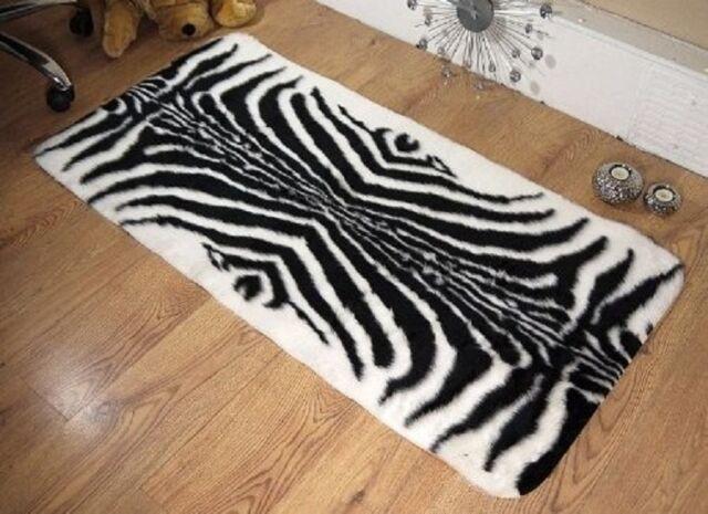 Zebra Ex Large Faux Sheepskin Shaggy Flokati Rug Carpet Non Slip Uk Made