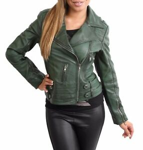 d806d79a0e26 Image is loading NEW-Womens-Genuine-Leather-Cross-Zip-Jacket-Fitted-