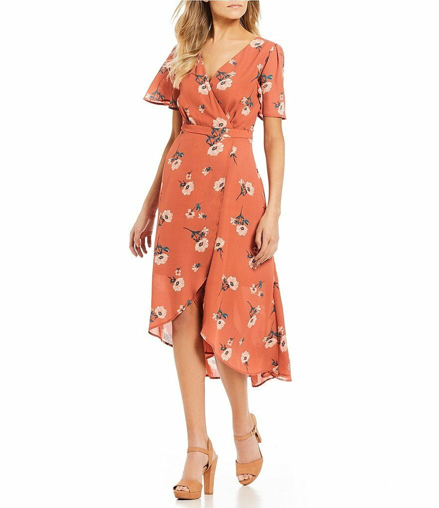 June & Hudson Casual Floral Printed Faux Wrap Dress and short sleeve Size Medium