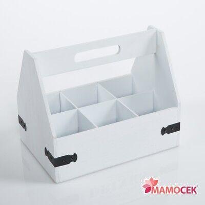 Contenitore Legno Bianco Portaoggetti Vasi Bottiglie Spezie Cucina Bagno Shabby E La Digestione Aiuta