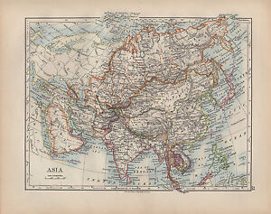 1900 Victorian Map Asia Arabia India Persia Siberia Chinese