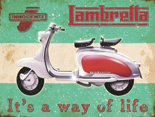 Lambretta Scooter Retro Vintage Nostalgic Metal Sign Wall Plaque Motorcycles