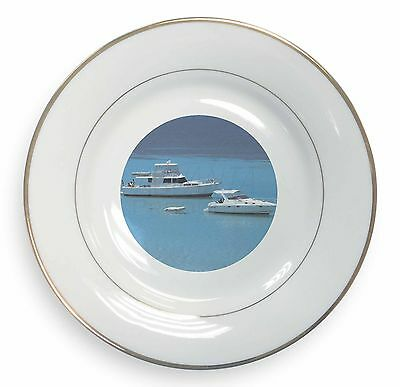 Di Carattere Dolce Yachts In Paradise Gold Rim Plate In Gift Box Christmas Present, Boa-5pl