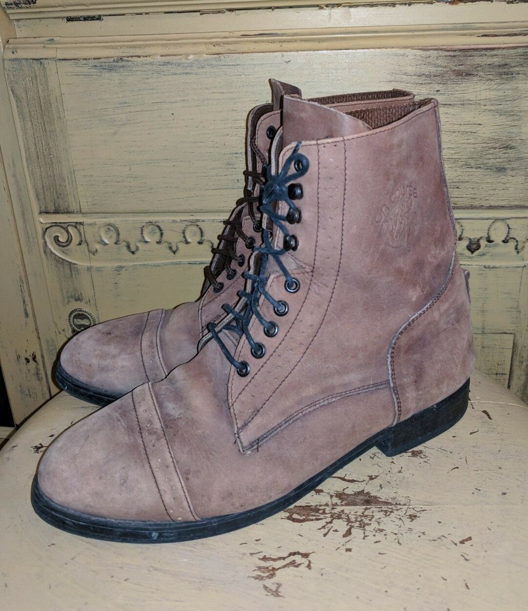 ON COARSE BROWN LEATHER ANKLE RIDING BOOTS LADIES 7.5 M GRANNY WESTERN LACE UP