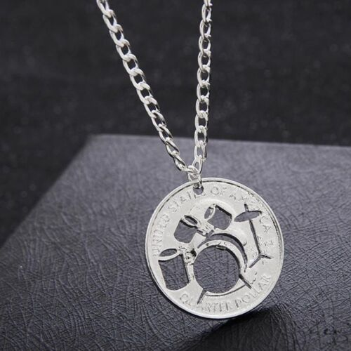 Alloy Hollow Drums Creative Popular Necklace Jewelry Coin Pendant Gifts