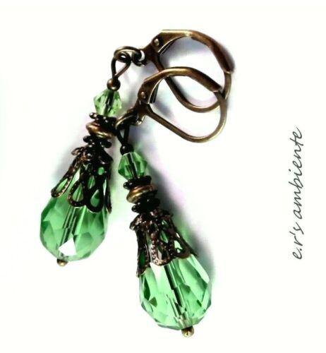 0137 Ohrhänger Ohrringe mit Glasschlifftropfen Bronze-Vintage-Look