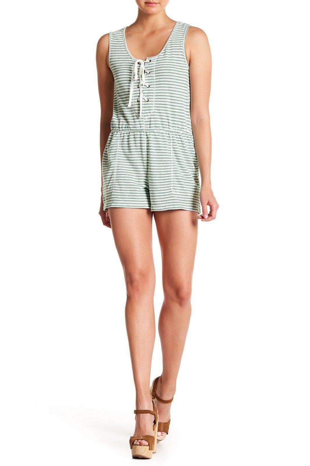 Max Studio Lace-Up Sleeveless Stripe Romper Cotton GREEN IVORI Size Medium M