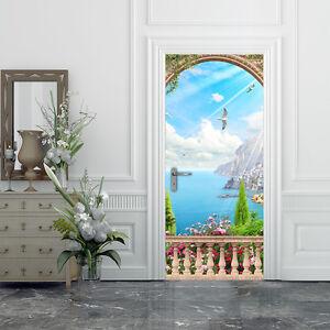 PT0207-Wall-Stickers-Adesivi-Murali-Adesivo-Porta-casa-decoro-mare-100x210-cm