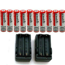 10pcs 18650 3.7V 4200mah Rechargeable Li-ion Battery Batteries +2 Double Charger