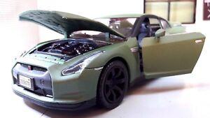 G-LGB-1-24-Echelle-Mat-Satin-Vert-Nissan-GT-R-R35-V6-Motormax-Voiture-Miniature