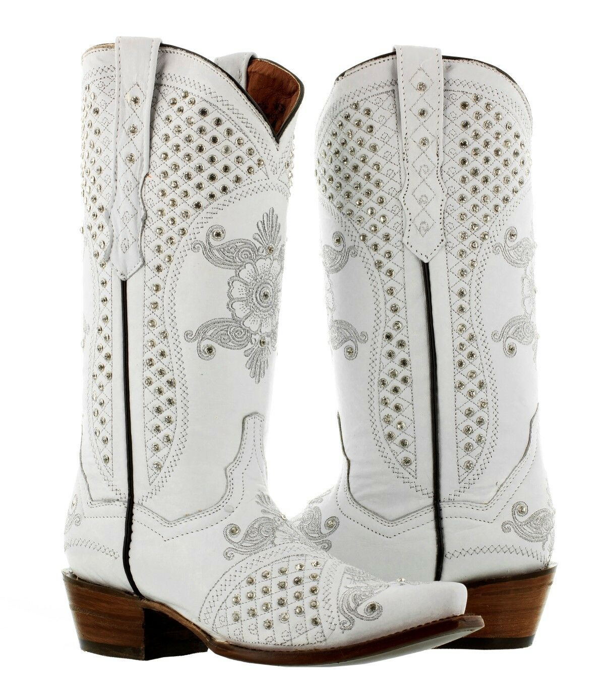 Womens White Wedding Western Cowgirl Boots Rhinestone Distressed Snip Toe