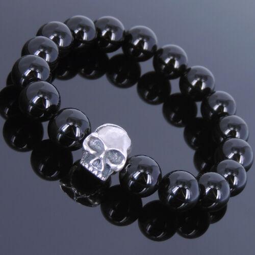 Black Onyx Sterling Silver Skull Bracelet Mens Women 12mm Beads DIY-KAREN 630