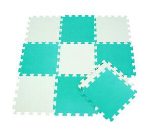 Tappeto-puzzle-schiuma-morbido-bambini-10-pz-giocattoli-bianco-e-verde-acqua