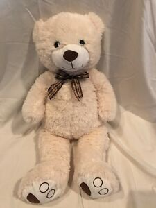 Goffa-White-brown-soft-Teddy-Bear-28-inch-plush-stuffed-animal-ribbon-bow-tie