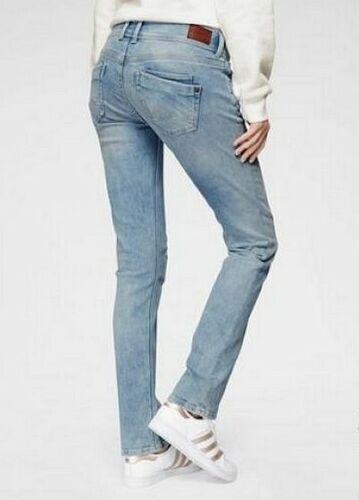 Pepe Jeans Straight Saturn Mid Waist Damen Hose Stretch Blue Used Denim L30