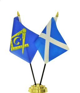 Masonic Freemasonry & Scotland Double Friendship Table Flag Set