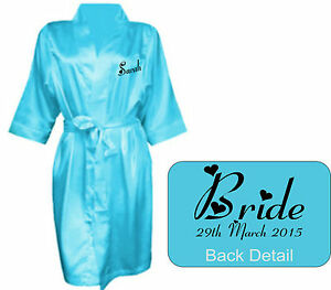 Image is loading Personalised-Wedding-Bridal-Robe-Gown-in-TURQUOISE-satin- 16f76aea87f