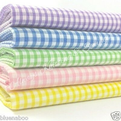 PER HALF METRE  POLYCOTTON 1/8 Inch Tiny Gingham Fabric 110cm Wide