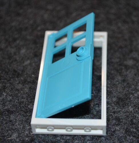 1 NEW Lego Building House 1x4x6 Light Blue Door with White Frame Bricks