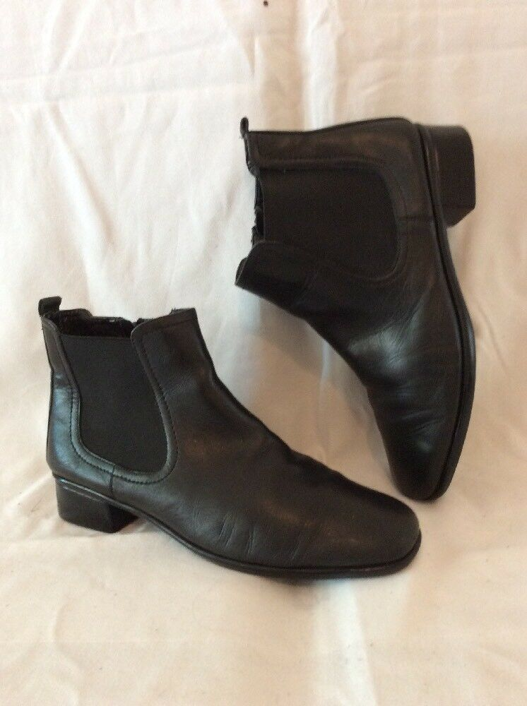 Tlc Black Ankle Leather Boots Size 6