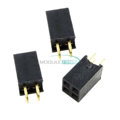 100PCS 2.54mm 2x2 4P Double Row Female Straight Header Pitch Socket Pin Strip M